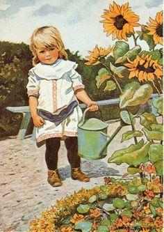 peintre illust jenny nystrom - Page 5 Vintage Cards, Vintage Postcards, Munier, Sunflowers And Daisies, Children's Book Illustration, Vintage Children, Art Children, Garden Art, Watercolor Art