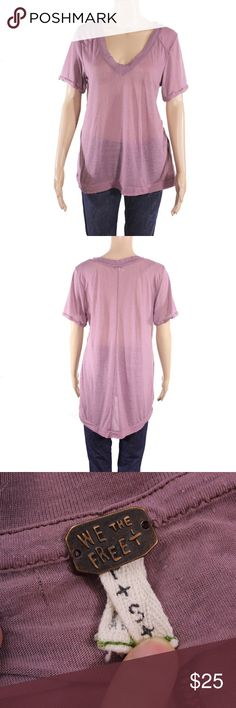 Free People High Low Short Sleeve Tee Free People light purple semi sheer tissue weight high low tee. Has some snags throughout, but nothing major.  Fits true to size.  Shown on a size 4/6 mannequin.  In gently used condition, no flaws.  Measurements available upon request.  All orders shipped same or next business day! Free People Tops