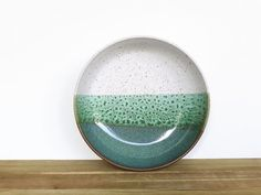Serving Bowl in Sea Mist and White Glazes by dorothydomingo