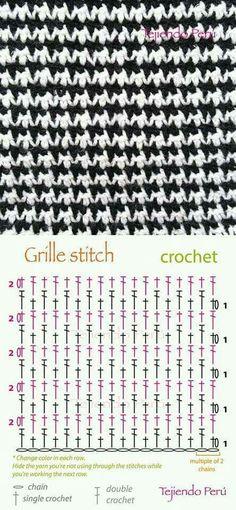 Ponto arroz em crochê com gráfico