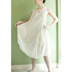 SALE 50% off, XXL Cotton Sleeveless Baggy Dress with Pockets, Tunic, Maternity, Plus Size Dress, in Off White
