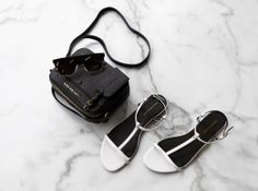 KG Kurt Geiger 'Match' white patent leather sandals with Kurt Geiger London cross body bag and sunglasses