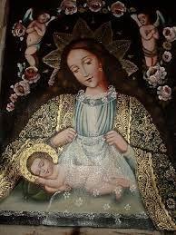 Virgen del Sueño de Jesus Preciosa Virgen, ambiente de la hora de dormir, la Virgen con el pelo suelto poniendo a Jesus a dormir, acompañada de dos angeles que velan su sueño.