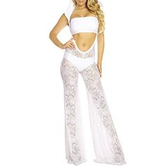 New Trending Pants: Eiffel Womens 3pcs Hooded Strapless Sheer Lace Hollow Out Pant Jumper Ropmer Set White. Eiffel Women's 3pcs Hooded Strapless Sheer Lace Hollow Out Pant Jumper Ropmer Set White  Special Offer: $16.99  244 Reviews Specifications: 100% Brand New and High Quality Gender:Women,Girl Style:Fashion,Sexy,Casual Type:Jumpsuit Neckline:Strapless Decoration:Lace,Hollow Out...