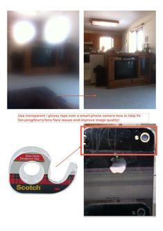 Eliminar la falta de definición de la cámara del teléfono-Utilice una cinta transparente / brillante en la lente de la cámara para fijar el enfoque / desenfoque / evitar problemas de refracción de la luz y el objetivo de mejorar la calidad de imagen!