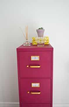 Check out Summer's new painted file cabinet, done with a custom 1:1 mix of Burgundy and Emile Chalk Paint®, with gold details.