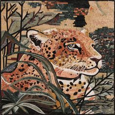 Tiger Sitting In The Jungle Art Tile Stones Marble Mosaic AN1106