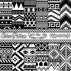 Aztec Digital Paper Black and White Seamless by DigitalMagicShop