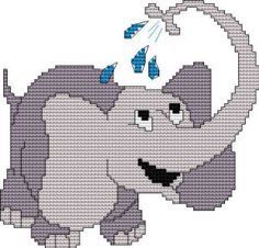 Elephant, free cross stitch patterns and charts - www.free-cross-stitch.rucniprace.cz