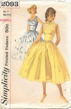 Simplicity 2093 - 1950s Tweens Day-or-Date Dress Vintage Sewing Pattern, by GrandmaMadeWithLove