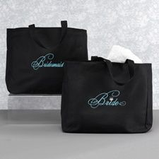 Love these Cute Bridal Party Tote Bag personalized for each bridesmaid and ready to fill with other goodies : )