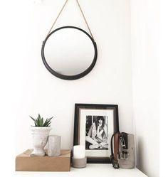 Miroir rond en m tal noir avec corde de suspension athezza salle d 39 eau inspirations - Miroir rond avec corde ...