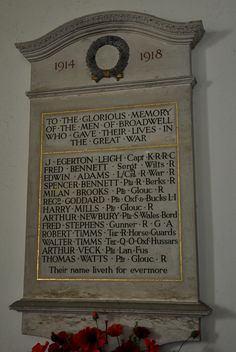 https://flic.kr/p/cRxEZu | Broadwell-068 St Paul War Memorial on north wall of nave | Broadwell gurgles and bubbles with bright water,…