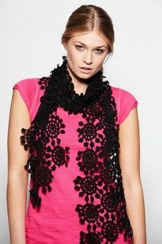 Black Crocheted Scarf