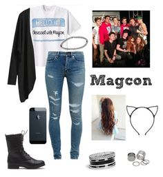 """""""Obsessed with magcon"""" by mariafe1231 ❤ liked on Polyvore featuring Yves Saint Laurent, GUESS, Pieces, Boohoo, women's clothing, women, female, woman, misses and juniors"""