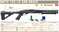Remington Arms Company, LLC-  M870 TAC-14 Arm Brace Military Weapons, Weapons Guns, Guns And Ammo, Tactical Guns, Tactical Shotgun, Shotguns, Firearms, Hotel Door Locks, Man Store