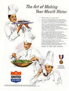 1950s airline chefs, perfecting the art of making your mouth water