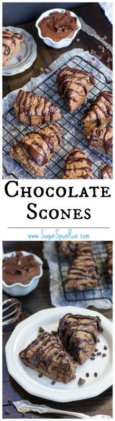 Chocolate Scones with a chocolate glaze... so good, even the next day!  || SugarSpunRun