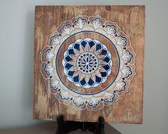 Navy/Gold Mandala- Mandala Art- Mandala on Distressed Wood- Mandala Wall Hanging- Mandala Decor by MandalasbyAriell on Etsy https://www.etsy.com/listing/242472980/navygold-mandala-mandala-art-mandala-on
