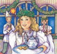 In Sweden, it's not Saint Nick that kids are waiting for but Saint Lucia, the patron saint of light. The celebration begins with St. Lucia's Day on December 13, when the eldest daughter wakes early, puts on a white gown and serves her parents breakfast. In some places, there are also candlelight processions on Christmas Eve.