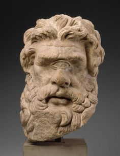 "Head of Polyphemus. Greek or Roman, Hellenistic or Imperial Period, 150 B. Museum of Fine Arts, Boston. From MFA Boston: ""This is the head of the one-eyed, man-eating Cyclops whom Odysseus finally outwitted and blinded. Ancient Greek Sculpture, Ancient Greek Art, Ancient Romans, Ancient Greece, Ancient History, Art History, Roman Sculpture, Sculpture Art, Hellenistic Art"