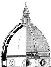 Early Rennaisance. Dome section drawing of the Duomo of Florence, Santa Maria del Fiore by Filippo Brunelleschi (1377–1446). Goldsmith, architect, sculptor, mathematician and mechanical engineer, Brunelleschi also was one of the first patented inventors; he designed a hoisting machine to raise over 4 million bricks to construct his dome.