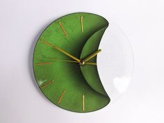 Green Clock, Silent Clock, Green Wall Clock, Green Home Décor, Surreal Art, Surreal Home Décor, Fantasy Home Décor, Small Wall Clock