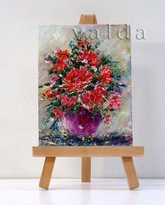 Red Flowers 1 3x4 original miniature oil painting