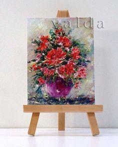 Red Flowers 1 3x4 original miniature oil painting by valdasfineart