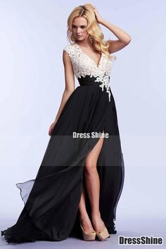 2015 Exceptional Two-Tone V-Neck Prom Dresses A-Line With Ruffles And Applique - PROM
