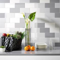 Fabulous mini metro tiles come in a range of colours including stylish white metro tiles. These flat matt tiles look great on their own as white kitchen wall tiles or they can be co-ordinated with other tile colours from the range. White Kitchen Cupboards, Paint For Kitchen Walls, White Kitchen Backsplash, White Kitchen Island, Metro Tiles Kitchen, Kitchen Wall Tiles, Tile Warehouse, Tiles Direct, White Wall Tiles