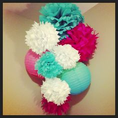 Tissue Pom Pom flowers in the baby's room