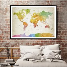 87270 - World Map Wall Art , World Map Push Pin Travel, Push Pin World Map, World Travel Map, Push Pin Map Canvas, Travel Map Canvas, Travel Map Art