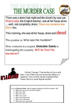 Murder Mystery - Past simple and past continuous