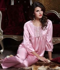 Silk Blend Gorgeous Women Sleepwear Sleep Long Tops Pants Lace Pajama Sets Gifts