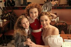 Matilda, Annie, and Cinderella pose while filming CBS promo videos for The Tony Awards.