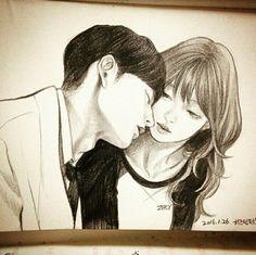 Cheese in the trap Digital Portrait, Portrait Art, Manga Couple, Korean Couple, Couple Drawings, Korean Artist, Cute Gif, Pencil Drawings, Fan Art