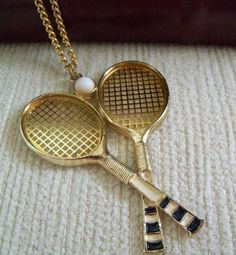 Vintage Mixed Doubles Tennis Necklace by SunshineSurprises on Etsy