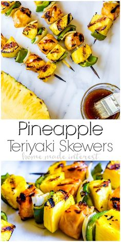 Grilled Pineapple Teriyaki Chicken Skewers are an easy summer dinner recipe. Pineapple, peppers, onions, and chicken glazed with sweet teriyaki sauce. Teriyaki Chicken Skewers, Sauce Teriyaki, Homemade Teriyaki Sauce, Chicken Kabobs, Summer Grill Recipes, Grilling Recipes, Cooking Recipes, Healthy Recipes, Vegetarian Grilling