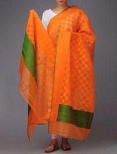 Orange Banarasi Silk Dupatta by Ekaya