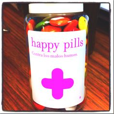 """Happy Pills, essential stuff for the office. Should say """"contra Los malos humores"""" -to fight bad moods. Now it says to fight bad smoke."""
