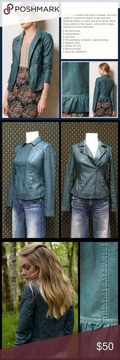 "Anthro ""Fayetteville Vegan Leather Jacket"" by Cart By Cartonnier.  Mint condition.  Truly stunning jacket in a real green colorway.  Lined, zips at sleeve cuffs, side pockets.  Label says zero but it's fitting Brunhilda (sorry, Brunhilda is my mannequin) just fine- Even a smidge loose through the waist- so I'm listing as a 4. **  Prices are as listed- Nonnegotiable.  I'm happy to bundle to save shipping costs, but there are no additional discounts.  No trades, paypal or condescending terms…"