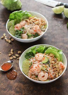 Vietnamese Shrimp Noodle Bowls Shrimp Noodle Bowl Recipe, Shrimp Rice Noodles, Shrimp And Rice, Noodle Bowls, Noodle Salad, Zucchini Noodles, Asian Recipes, Healthy Recipes, Ethnic Recipes