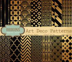 Pack of 14 original high quality black and gold textured digital papers, each with an ornate and unique pattern. Each paper measures 12 x 12 inches Art Deco Black and Gold Digital Paper Motif Art Deco, Art Deco Pattern, Gold Pattern, Art Deco Design, Pattern Design, Wallpaper Art Deco, Gold Wallpaper, Textured Wallpaper, Art Nouveau