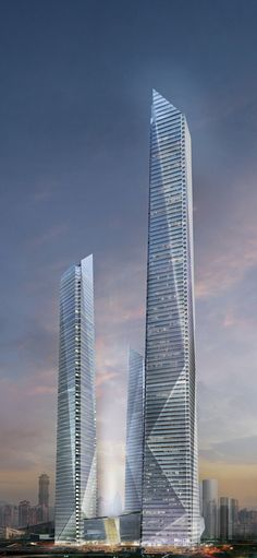 Chongqing China City International Financial Center, former Lippo Center, Chongqing, China by César Pelli Architects :: height 470m, 280m and 200m, proposal