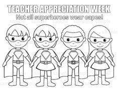INSTANT DOWNLOAD Printable SuperHero Teacher Appreciation Week Childrens Kids Coloring Page Activity