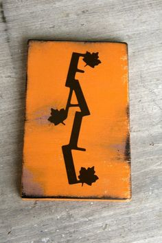 FALL Wooden Plaque Thanksgiving Burnt Orange Mantle Decor by Kreationsbykellyr on Etsy