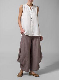 MISSY Collection - Linen Mandarin Collar A-Line Sleeveless Shirt Set