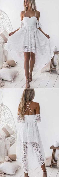 High Low White A-Line Straps Off Shoulder Lace Homecoming Dress, SH299 #Highlow #Homecoming #Partydresses #Prom #Simidress #Shortpromdresses