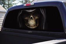 John Rios Wing Skull Black White Rear Window Graphic Part - Chevy rear window decals trucksharleydavidson rear window graphic decal lightning